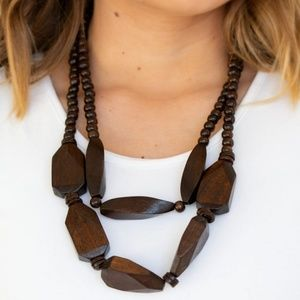 Tropical Heat Wave Brown Wooden Necklace and Earri